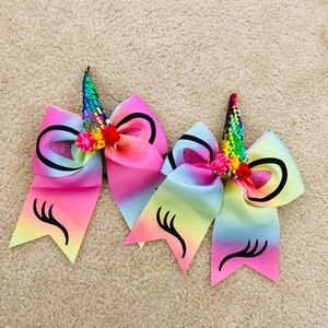 Other - NWT - 2 Sequin unicorn bows / hair ties